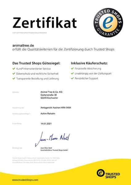Animal Tree Trusted Shops Zertifikat